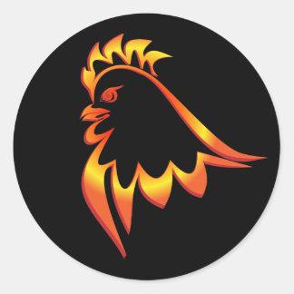Sticker Rond Coq ardent