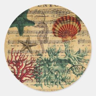 Sticker Rond coquillage de corail côtier chic d'hippocampe de