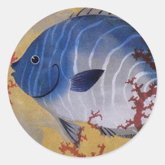 Sticker Rond Corail bleu tropical de poissons de la vie marine
