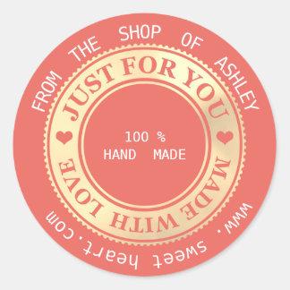 Sticker Rond Corail fait main d'or d'amour de coeurs de Web de