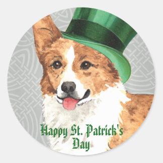 Sticker Rond Corgi de Gallois de Pembroke du jour de St Patrick