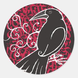 Sticker Rond Corneille gothique