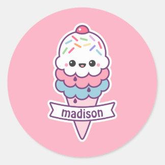 Sticker Rond Cornet de crème glacée de Kawaii