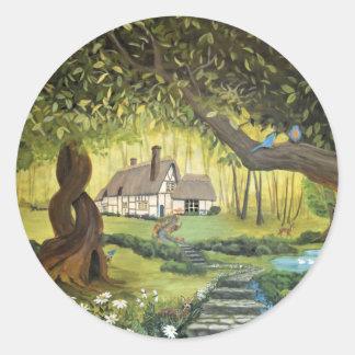 Sticker Rond Cottage dans les bois