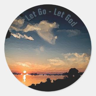 Sticker Rond coucher du soleil 12-Step au-dessus du Lac Balaton