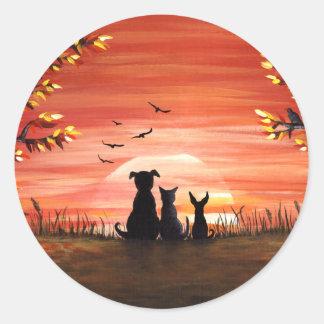 Sticker Rond Coucher du soleil d'automne
