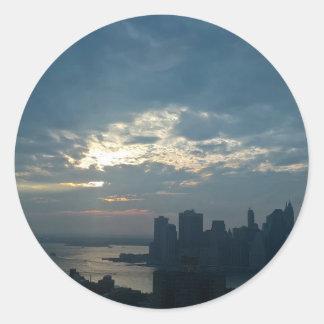 Sticker Rond Coucher du soleil Manhattan1
