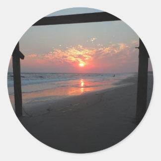Sticker Rond Coucher du soleil sous le pilier - île de chêne,