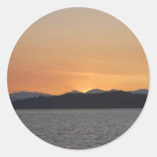 Sticker Rond Coucher du soleil sur Alki