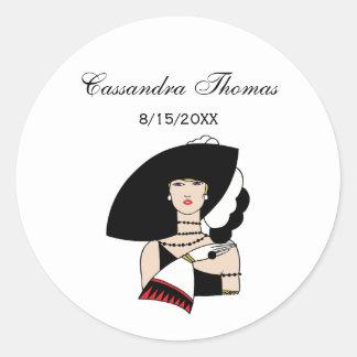 Sticker Rond Couleur de port de gants de casquette de femme