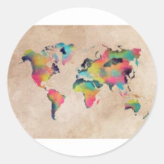 Sticker Rond couleurs de carte du monde