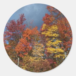 Sticker Rond Couleurs de chute dans Blue Ridge Mountains