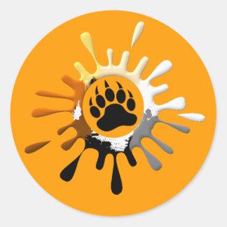 Sticker Rond Couleurs de fierté d'ours d'éclaboussure de patte