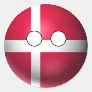 Sticker Rond Countryball Danemark - expression neutre
