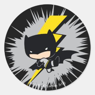 Sticker Rond Coup-de-pied de foudre de Chibi Batman