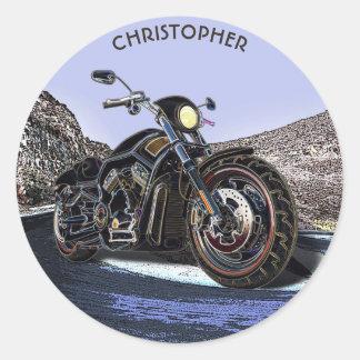 Sticker Rond Couperet rougeoyant de moto de route vintage