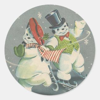Sticker Rond Couples vintages de bonhomme de neige de Noël de