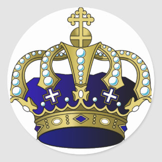 Sticker Rond Couronne royale de bleu et d'or