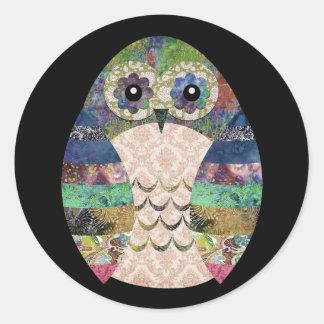 Sticker Rond Coutume de Bohème d'oiseau de Boho de rétro hibou