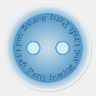 Sticker Rond Couture de bouton et partie bleues de métier