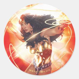 Sticker Rond Couverture d'encyclopédie de femme de merveille