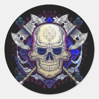 Sticker Rond Crâne avec la conception d'autocollant de haches