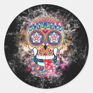 Sticker Rond Crâne coloré de sucre, jour de l'autocollant mort