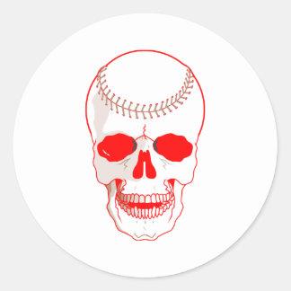 Sticker Rond Crâne de base-ball