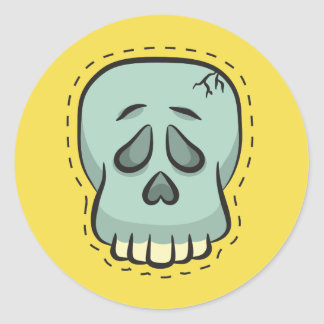 Sticker Rond Crâne de Halloween