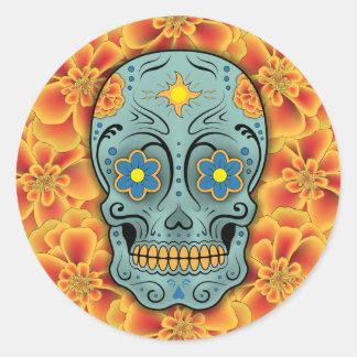 Sticker Rond Crâne de sucre - jour du mort (souci)