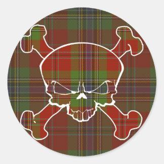 Sticker Rond Crâne de tartan de MacLean aucune bannière