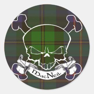 Sticker Rond Crâne de tartan de MacNeil