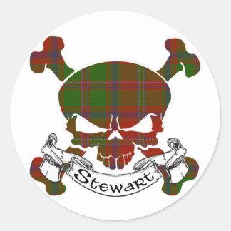 Sticker Rond Crâne de tartan de Stewart