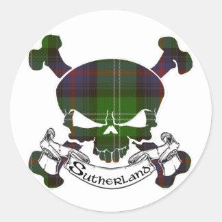 Sticker Rond Crâne de tartan de Sutherland