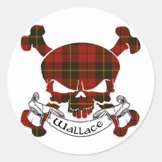 Sticker Rond Crâne de tartan de Wallace