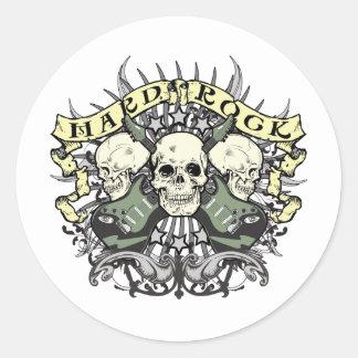 Sticker Rond Crâne et guitares de hard rock