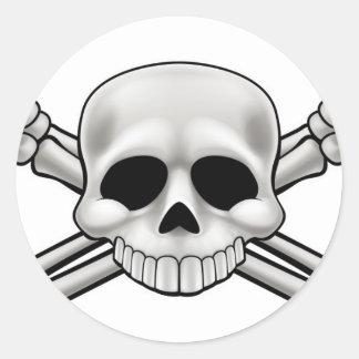 Sticker Rond Crâne et os croisés