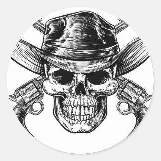 Sticker Rond Crâne et pistolets de cowboy