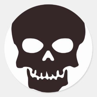 Sticker Rond Crâne noir