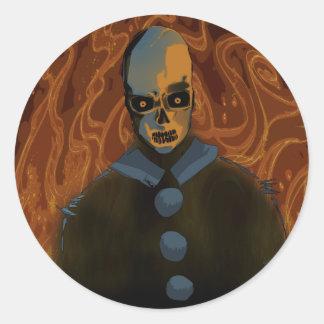 Sticker Rond Crâne orange