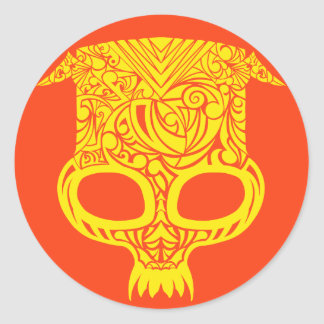 Sticker Rond Crâne tribal