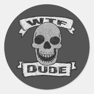 Sticker Rond Crâne vintage de type de WTF