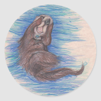 Sticker Rond Créature d'animal sauvage de loutre de mer petite