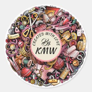 Sticker Rond Créé avec l'autocollant d'amour