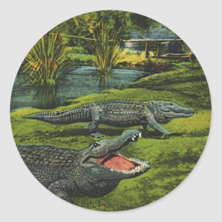 Sticker Rond Crocodiles vintages, animaux de reptiles d'espèce