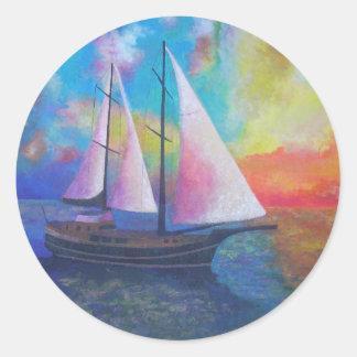 Sticker Rond Croisière de Gulet de côte de turquoise de Bodrum