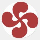 Sticker Rond Croix Basque Rouge Lauburu