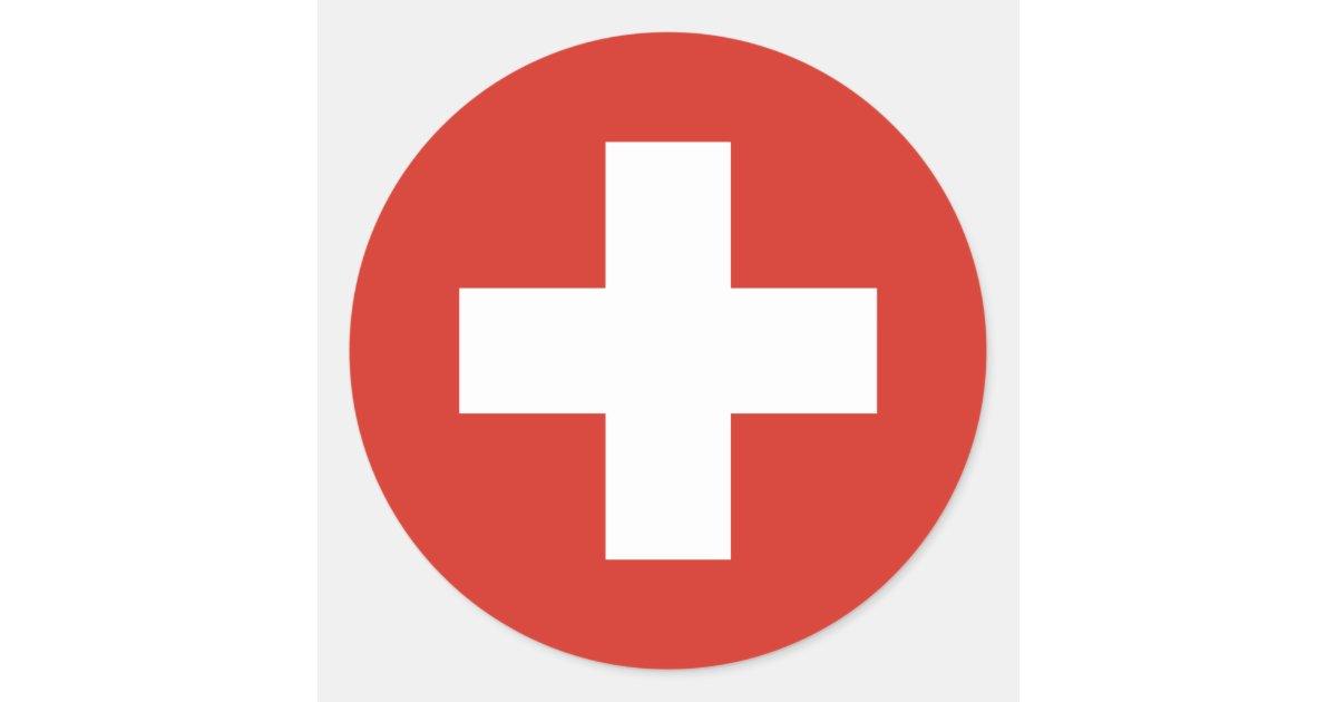 sticker rond croix rouge de drapeau suisse. Black Bedroom Furniture Sets. Home Design Ideas
