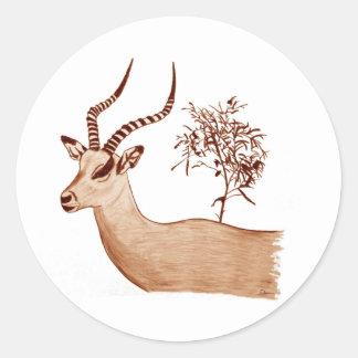 Sticker Rond Croquis animal de dessin de faune d'antilope