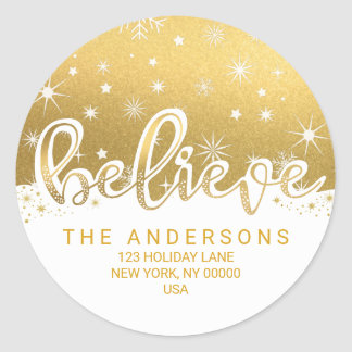 Sticker Rond Croyez l'adresse manuscrite d'or de Noël